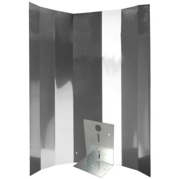 Reflektorkappe, Hochglanz, 50 x 50 cm, Bügel verstärkt für Energiesparlampe, Schraubensatz