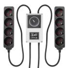 LUMii BLACK Zeitschaltuhr mit 2x 4-fach Steckerleiste, Steckdosentyp E