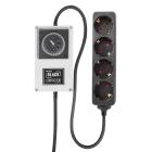 LUMii BLACK, Zeitschaltuhr mit 4-fach Steckerleiste, Schuko Timer Box Relais