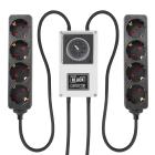 LUMii BLACK, Zeitschaltuhr mit 2x 4-fach Steckerleiste, Schuko Timer Box Relais
